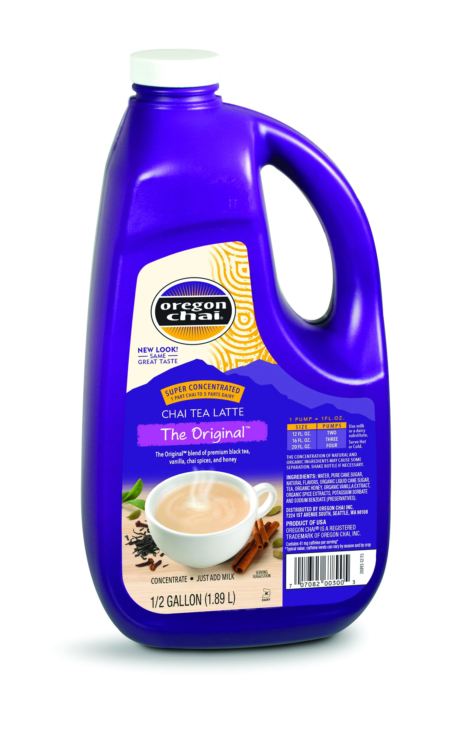 Oregon Chai Original Chai Tea Latte Concentrate, 64-Ounce Jugs (Pack of 4)