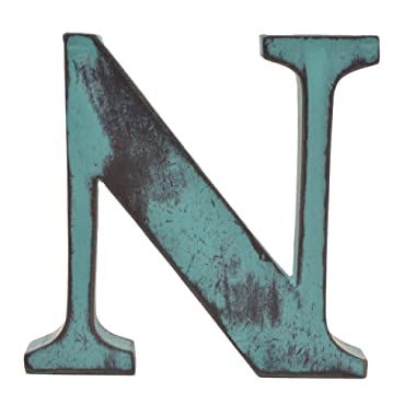 Shabby Chic Vintage Large 11 cm Wooden Letters Hand Finished Alphabets Free-Standing Or Wall Mounted D�cor for Weddings Baby Names Signs Unique Personalised Gift. (Teal, Letter N)