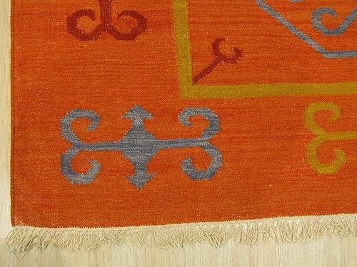 EORC OSK1RT Handmade Wool Reversible Suzani Kilim Rug, 9 x 12 , Rust