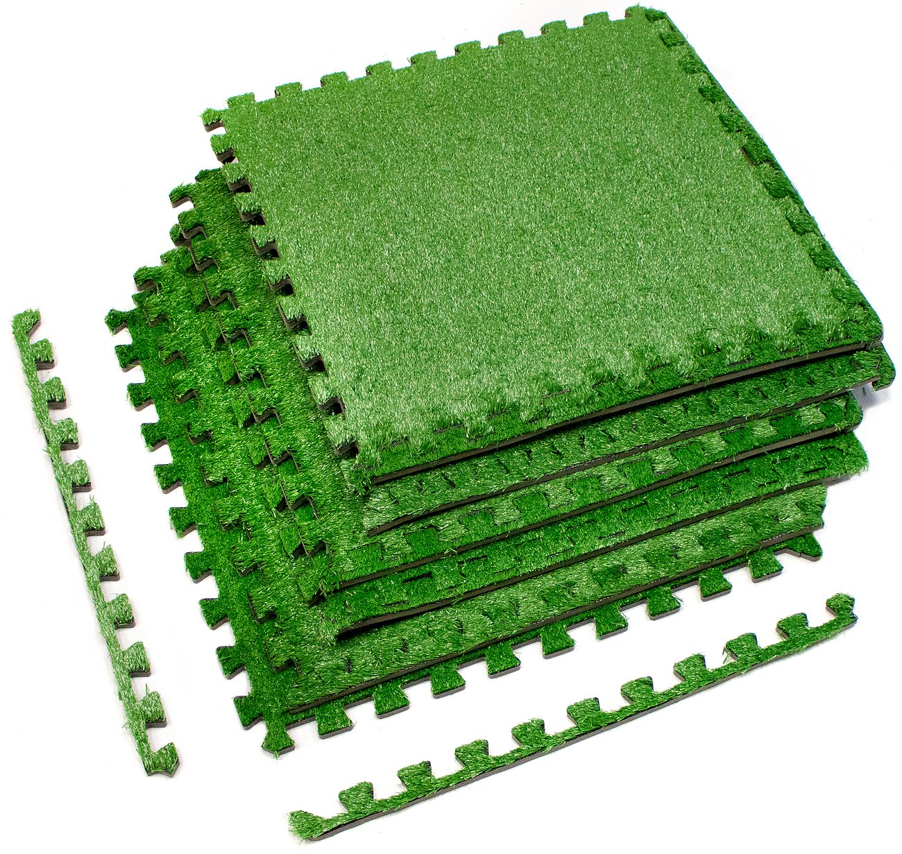 Sorbus Grass Mat Interlocking Floor Tiles – Soft Artificial Grass Carpet – Multipurpose Foam Tile Flooring – Patio, Playroom, Gym, Tradeshow 16 Sq ft (4 Tiles, Borders) (6 Tiles (24 Sq ft))