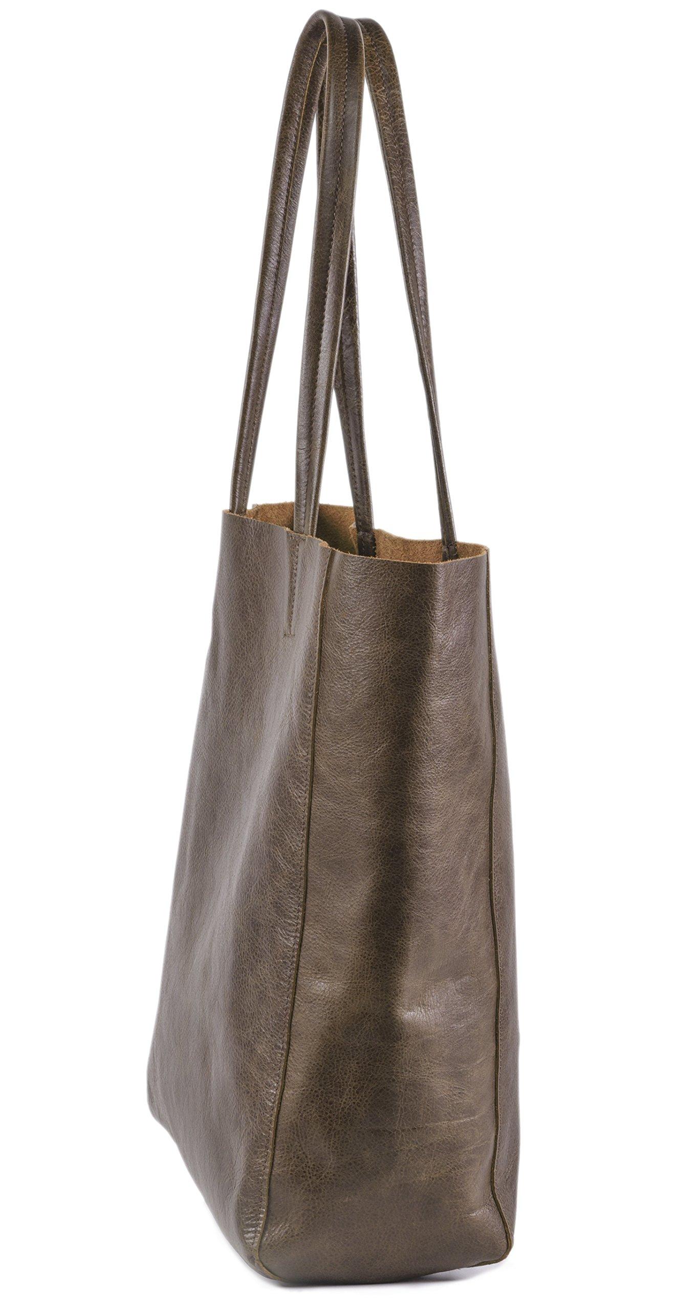 Women's Vintage Genuine Leather Tote Shoulder Bag - Large Capacity Travel Handbag by THE AARTISAN (Image #3)