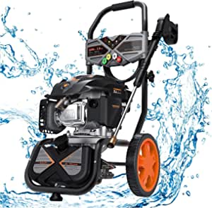 Gas Pressure Washer, 3200 PSI at 2.4 GPM, 5 Kinds of Nozzles, 6.5 HP, Soap Tank, Easy Move and Store, for Cleaning Walls, Terraces, Vehicles, Workshops, Gardens, etc