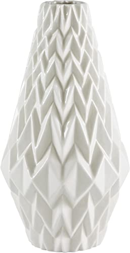 Amazon Brand Rivet Modern Geometric Pattern Decorative Stoneware Vase, Large Centerpiece, 12.25 H, White