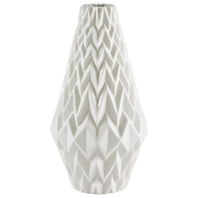 "Rivet Modern Geometric Pattern Stoneware Vase, 12.25""H, White"