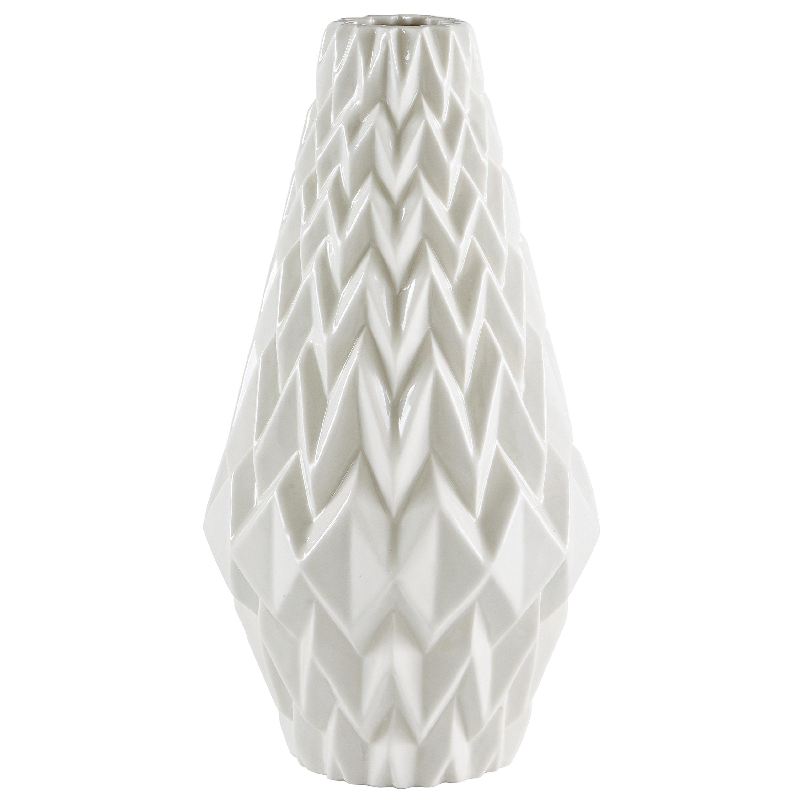 Rivet Modern Geometric Pattern Stoneware Vase, 12.25''H, White by Rivet