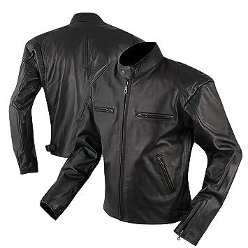 A-pro Chaqueta de la Moto Piel forrado termico Bolsillos para protecciones Negro L: Amazon.es: Coche y moto