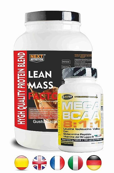 Proteína y BCAA 811 | 2 suplementos | Protein gr 1000 Sabor de chocolate sin aspartamo