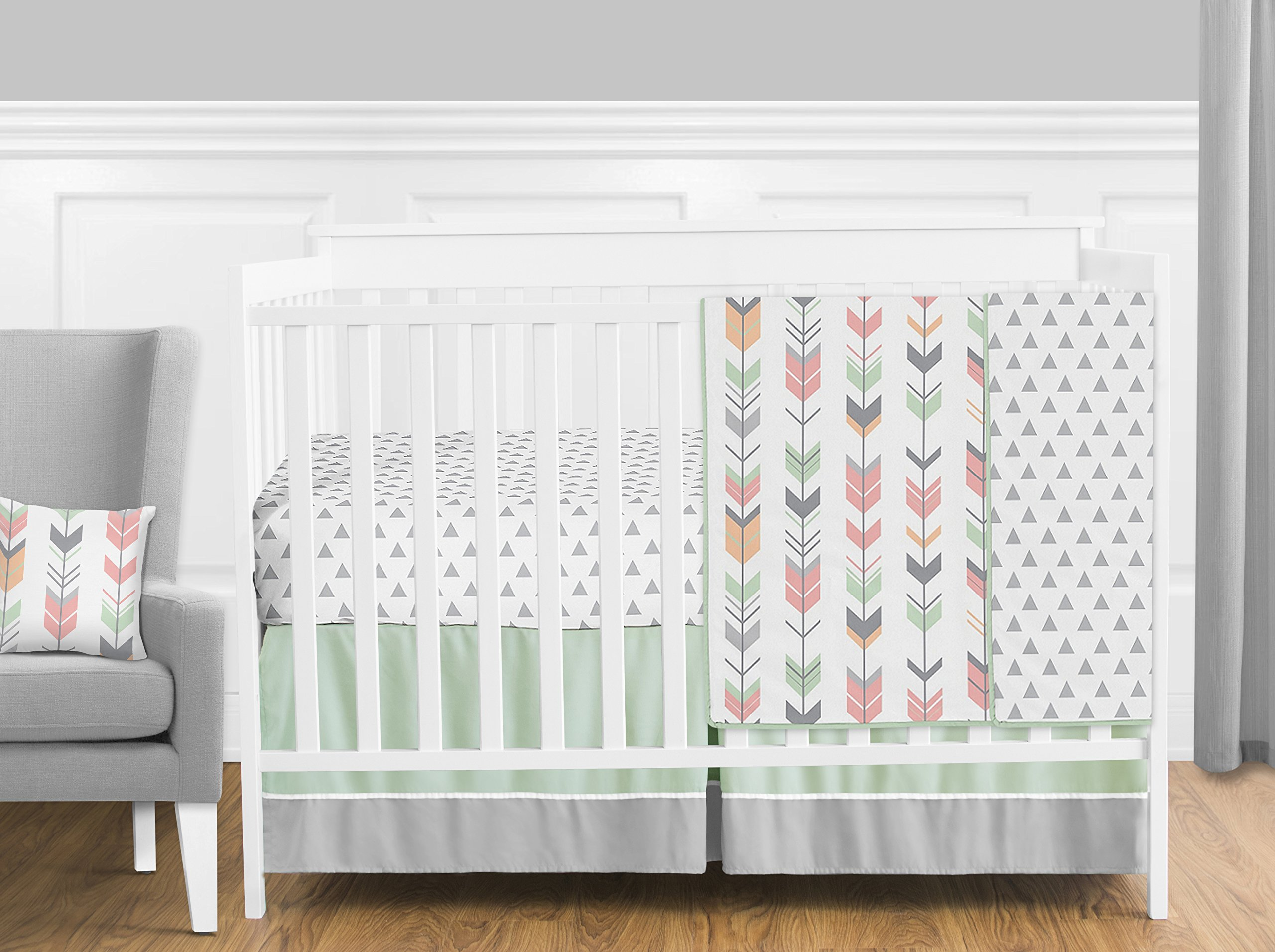 Sweet Jojo Designs 11-Piece Grey, Coral and Mint Woodland Arrow Girls Crib Bed Bedding Set Without Bumper