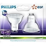 Philips - Lot de 2 Ampoules LED Spot - Culot GU10 - 5W Consommés - Équivalent 50W - Partenariat Philips/EDF