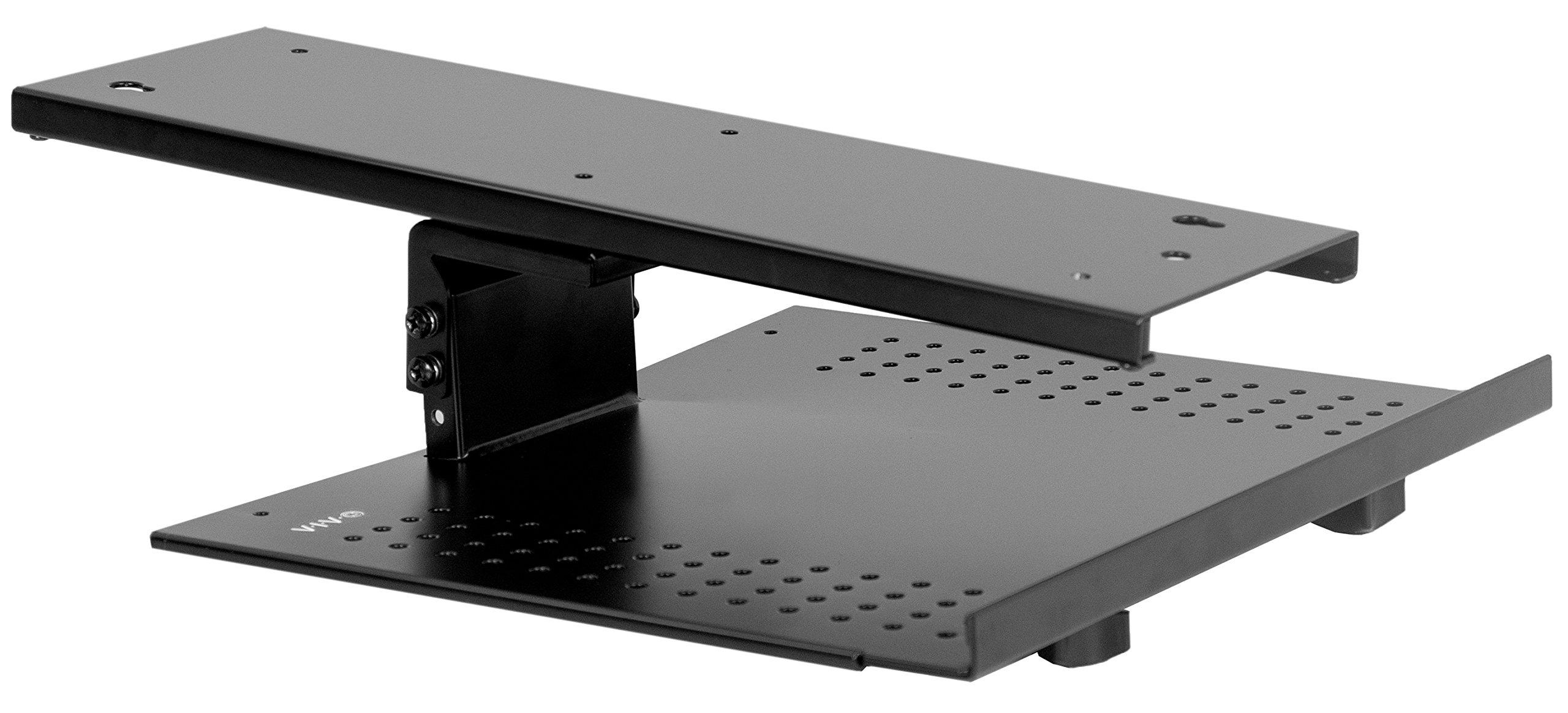 VIVO Black Sliding Tray Track Adjustable Platform Mounted Under Desk | Laptop Notebook Holder for Office Desk (DESK-AC02A)