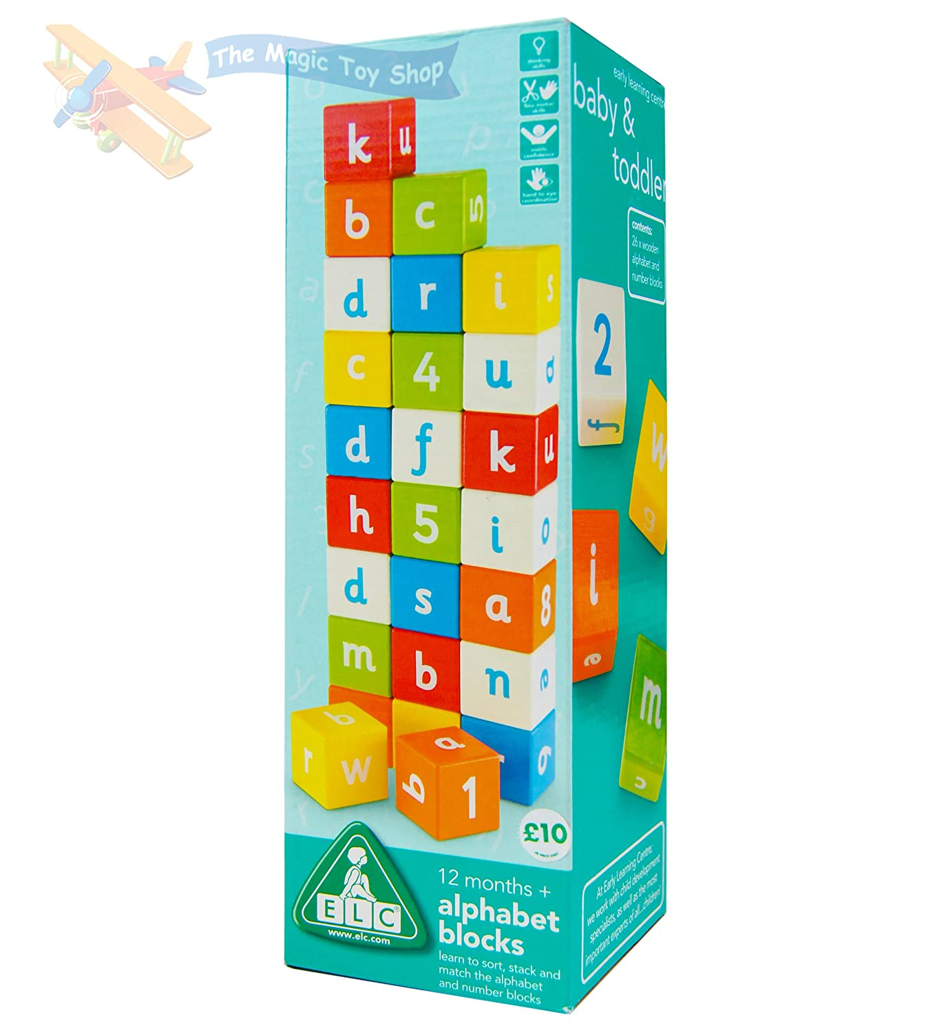 ELC WOODEN ALPHABET BLOCKS MULTI COLOURED LETTERS NUMBERS FOR AGES