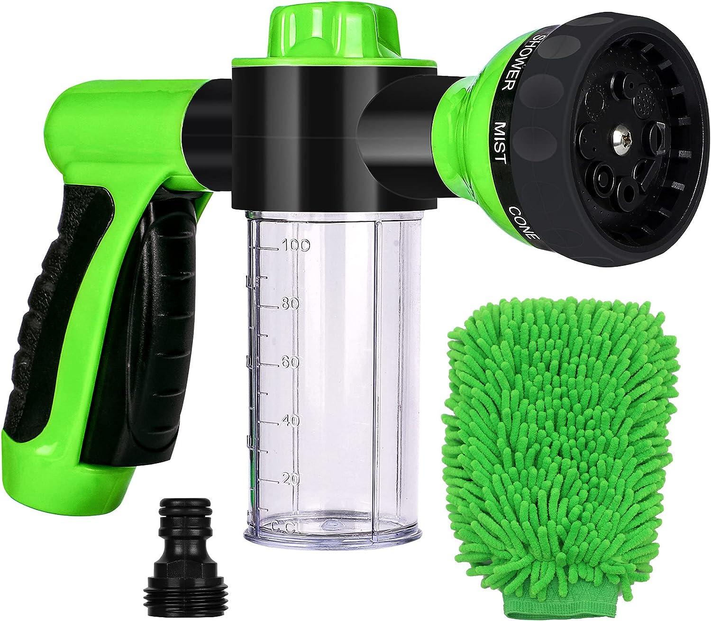 Hose Spray Nozzle, High Pressure Garden Hose Nozzle 8 Way Spray Pattern with 3.5oz/100cc Soap Dispenser Bottle Snow Foam Gun for Watering Plants, Car Wash, Lawn, Patio, Cleaning, Showering Pet