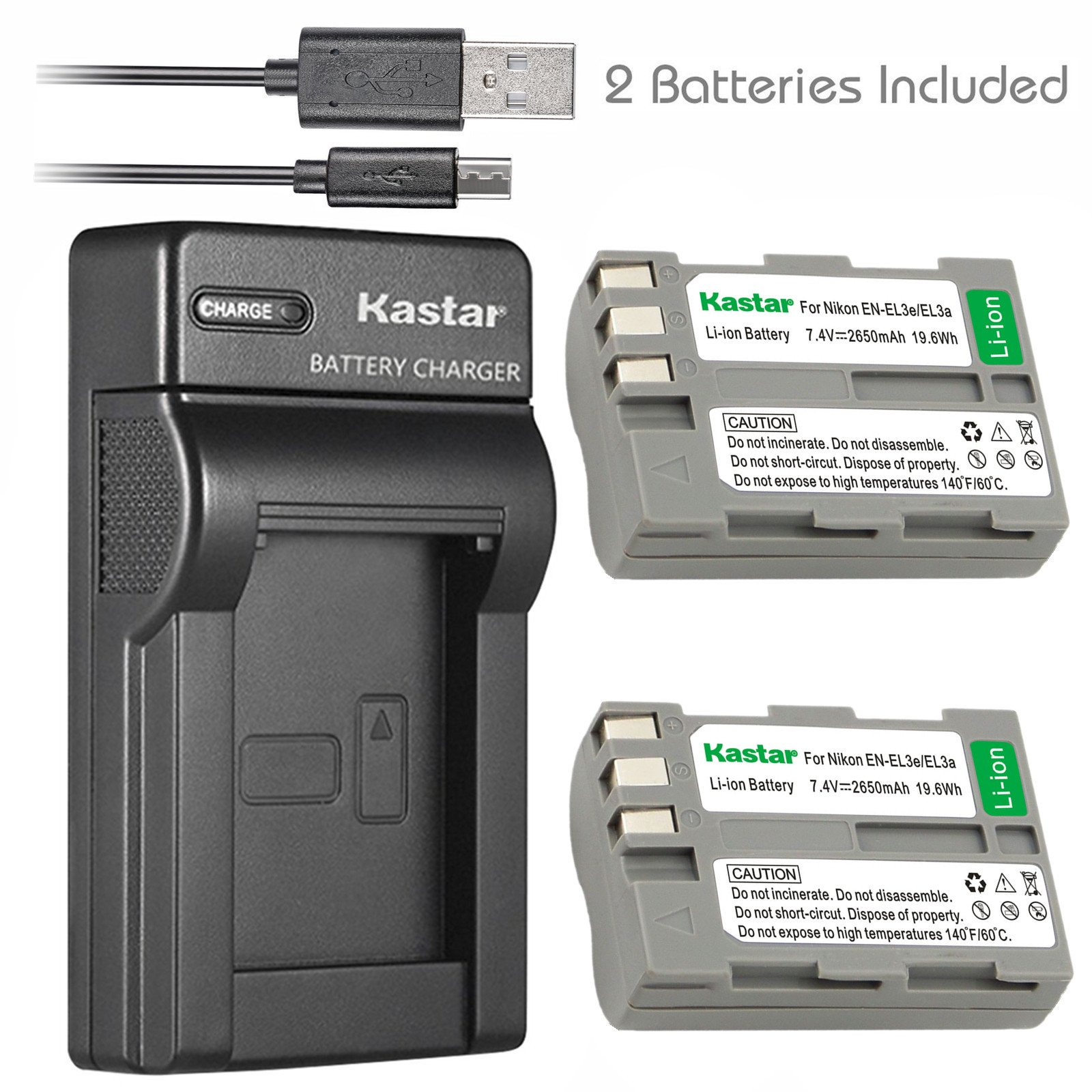 Kastar Battery (X2) & Slim USB Charger for Nikon EN-EL3e, ENEL3E, EN-EL3a, EN-EL3, MH-18, MH-18a and Nikon D50, D70, D70s, D80, D90, D100, D200, D300, D300S, D700 Cameras