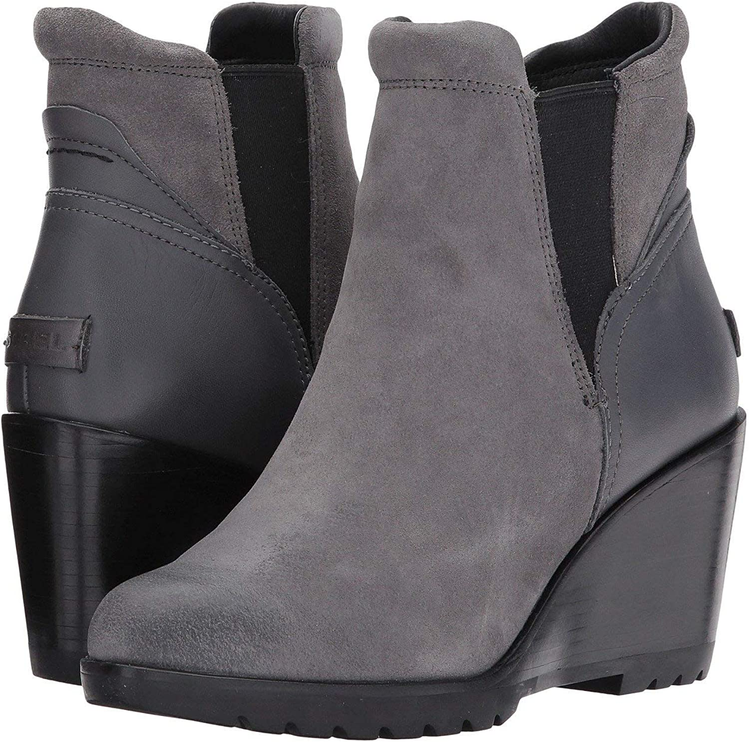 Sorel Women/'s After Hours Chelsea Wedge Boots Quarry Grey Suede New With Box