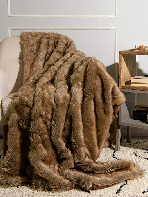 Luxury Plush Faux Fur Throw Blanket Soft Warm Fluffy for Couch Home 60/'/'x 58/'/'