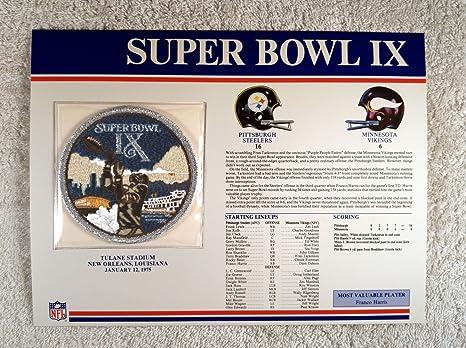 06dcc8314 Super Bowl IX (1975) - Official NFL Super Bowl Patch with complete  Statistics Card