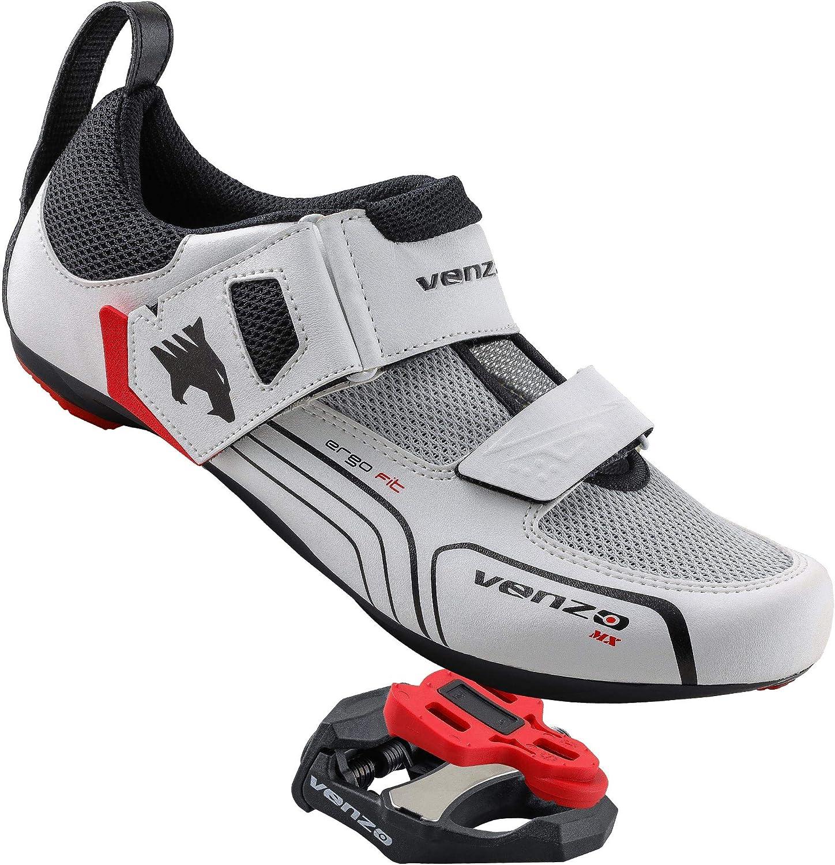 Venzo - Zapatillas de Ciclismo para Hombre (triatlón, compatibles con Shimano SPD SL, con Pedales de rodamiento sellados, con Pedales de Bicicleta de Carretera), 13 M US Hombres: Amazon.es: Deportes y aire