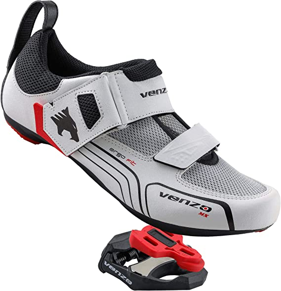 Venzo Cycling Bicycle Triathlon Outdoor Men Road Bike Shoes Compatible with Shimano SPD SL Look Black - with Sealed Bearing Road Bike Pedals
