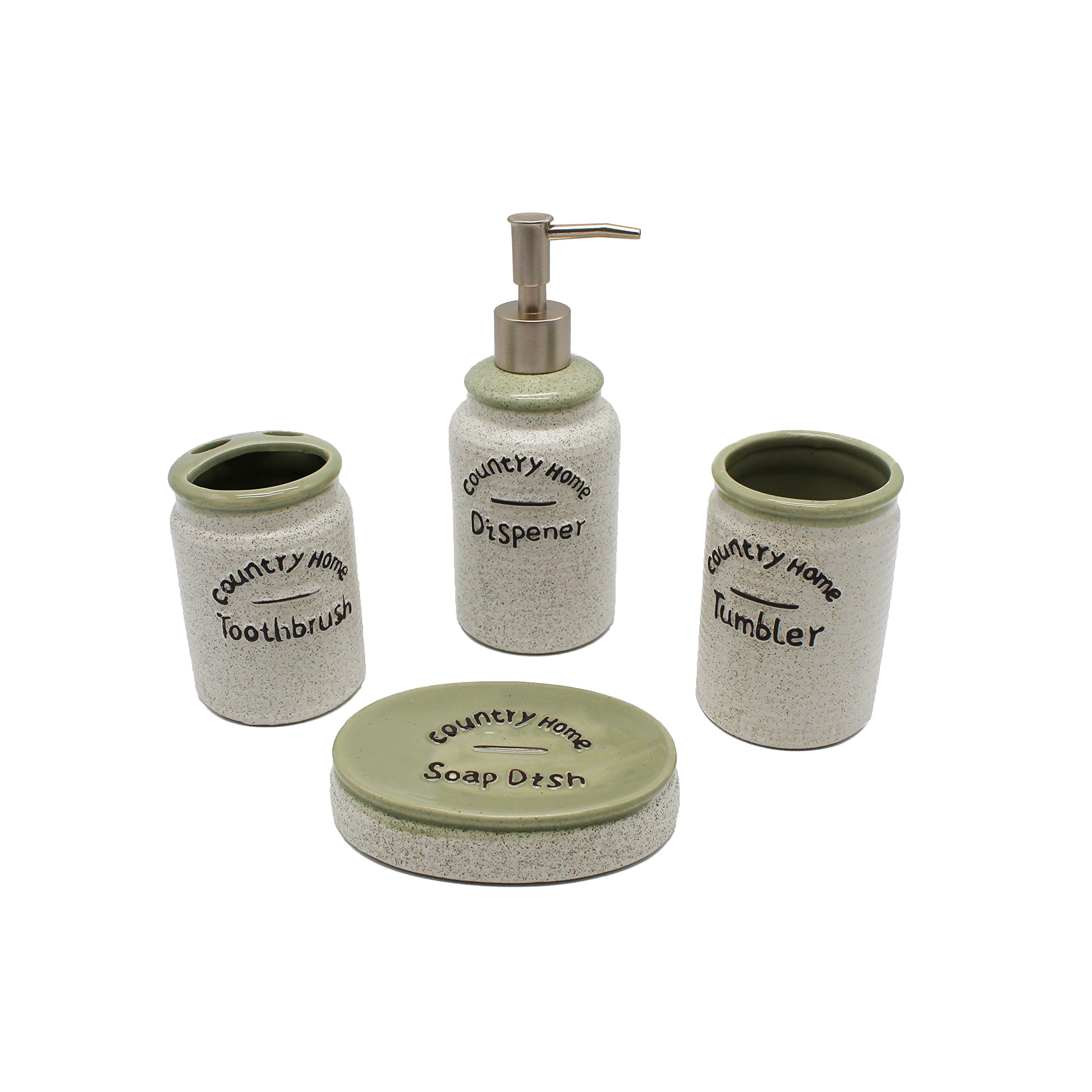 Country Home 4-Piece Ceramic Bathroom Accessories Set – Cozy Bath Ensemble Set Includes Decorative Countertop Soap Dispenser, Toothbrush Holder, Tumbler and Soap Dish – Perfect Home Décor Gift