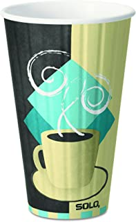 product image for Dart IC12J7534PK Duo Shield Hot Insulated 12oz Paper Cups, Tuscan, Chocolate/Blue/Beige, Pack of 40