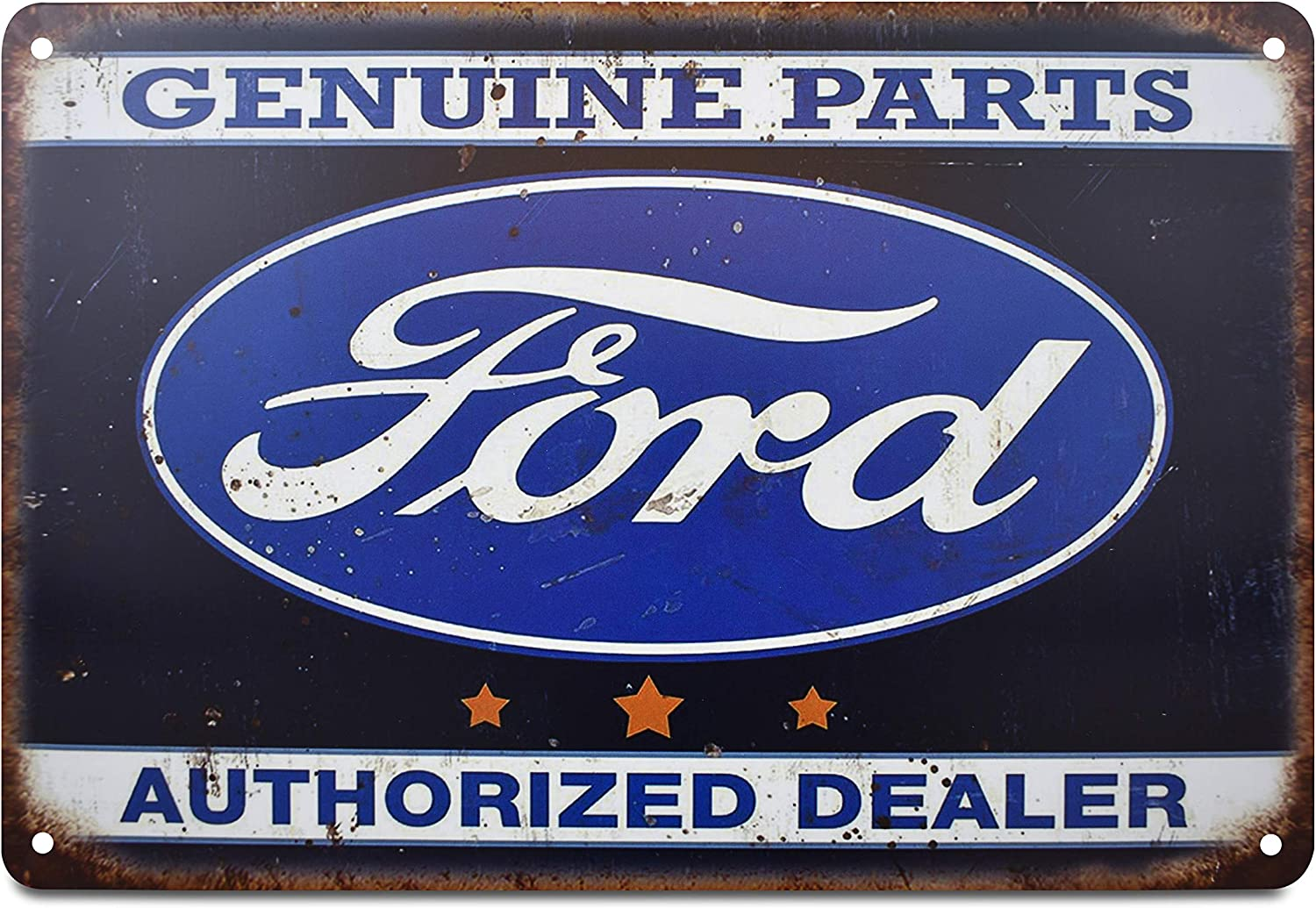 K&H Ford Authorized Dealer Retro Distressed Metal Tin Sign Posters Wall Decor 12X8-Inch (Ford)