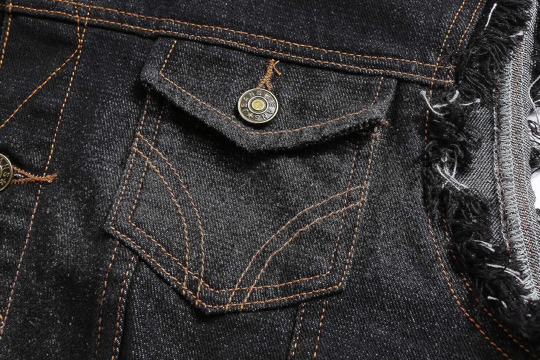 NASKY Mens Black Denim Vest Sleeveless Jean Jacket Slim Fit Retro 80/'s Vest