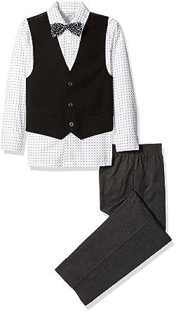 f1fac9a5a75 Amazon.com  Perry Ellis Big Boys Solid Poplin Vest Set with Bow Tie ...