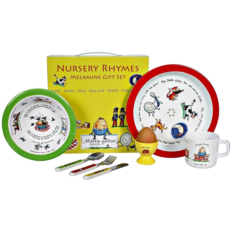 Martin Gulliver Designs Nursery Rhymes Melamine Gift Set, Multi-Colour, 23 x 23 x 7 cm NR01