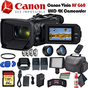 Amazon Com Canon Vixia Hf G60 Uhd 4k Camcorder Black 3670c002 With Extra Battery Uv Filter Close Up Diopters Wide Angle Lens Padded Case Led Light 64gb Memory Card And More Advanced