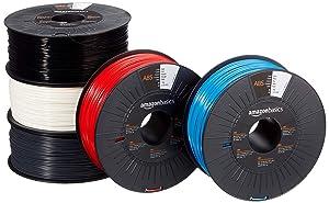 AmazonBasics ABS 3D Printer Filament, 1.75mm, 5 Assorted Colors, 1 kg per Spool, 5 Spools