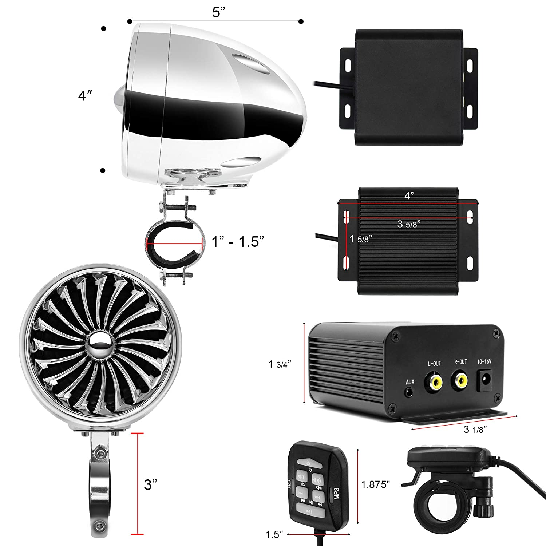 Handlebar Mount Audio Amp System Harley Touring Cruiser ATV UTV RZR AUX FM Radio TJ4-R Chrome GoHawk TJ4-R Amplifier 4 Full Range Waterproof Bluetooth Motorcycle Stereo Speakers 1 to 1.5 in