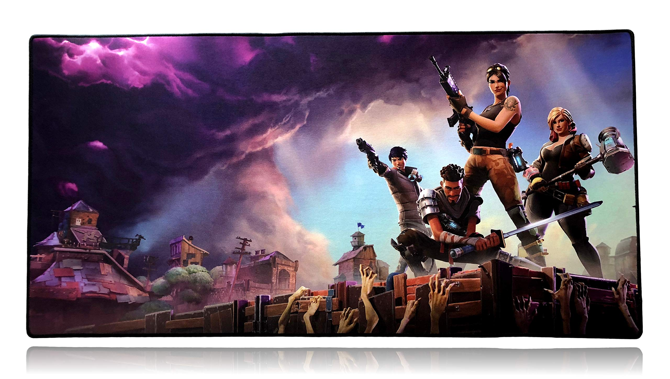 Fortnite Extended Plus Size Custom Professional Gaming Mouse Pad - Anti Slip Rubber Base - Stitched Edges - Large Desk Mat - 36'' x 18'' x 0.16'' (Extended Plus, Fortnite)