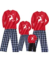 Twas The Night Leaping Reindeer Matching Family Holiday Adult Pajamas & Kids Playwear