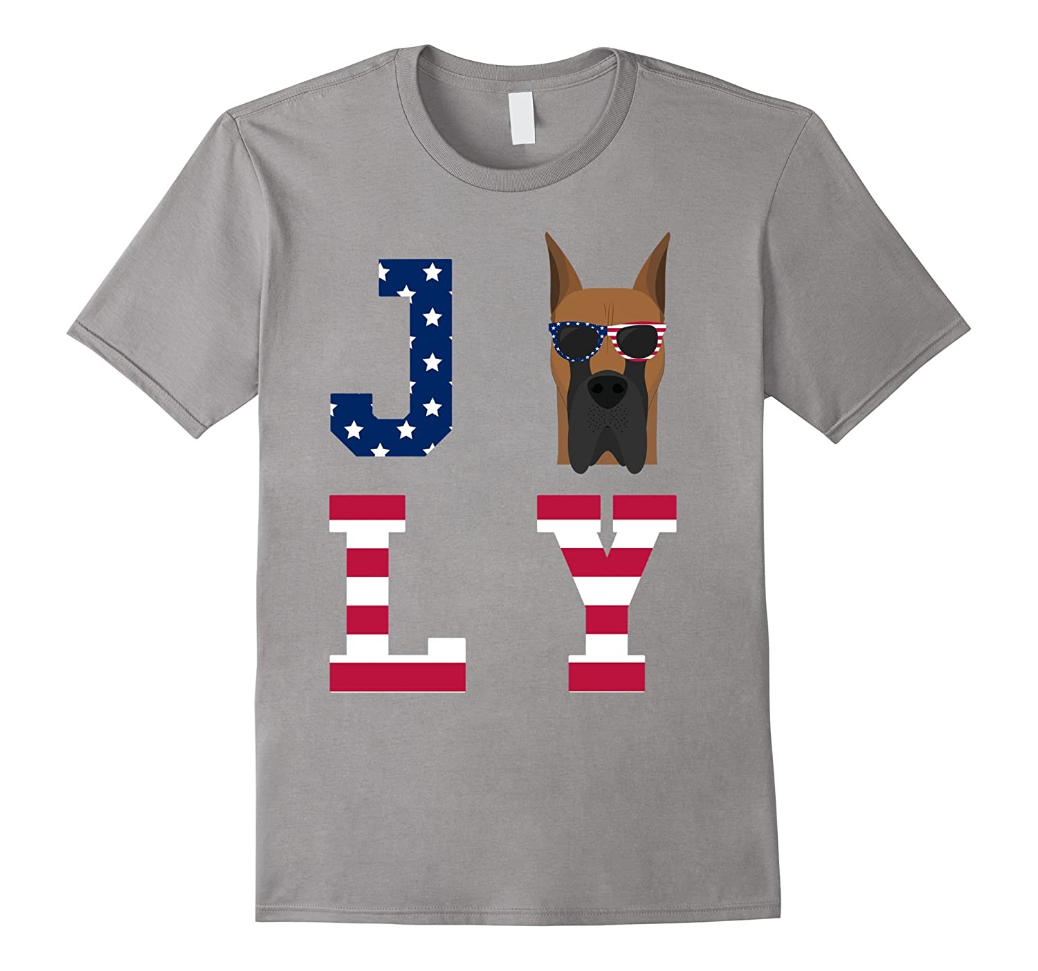 4th of July - Great Dane American Flag Dog T-Shirt-Art