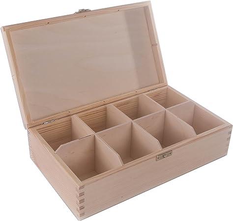 SEARCHBOX 8 Compartimentos Caja de Almacenamiento de Madera con Tapa/Caja de té/Organizador/sin Pintar/Madera de pino/29 x 17,5 x 7,8 cm: Amazon.es: Hogar