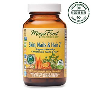 MegaFood, Skin, Nails & Hair 2, Supports Healthy Complexion, Nails & Hair, Multivitamin & Herbal Dietary Supplement, Gluten Free, Vegan, 60 Tablets (30 Servings)