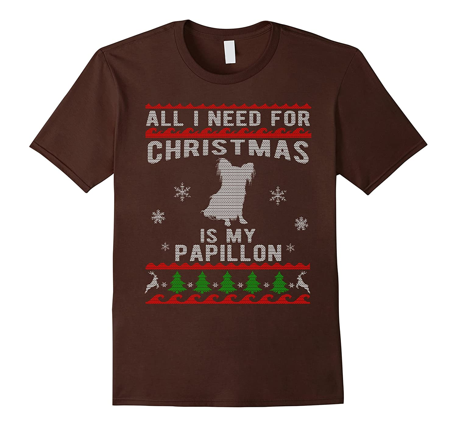 Ugly Christmas Sweater Style Papillon Dog Funny T-Shirt-ANZ