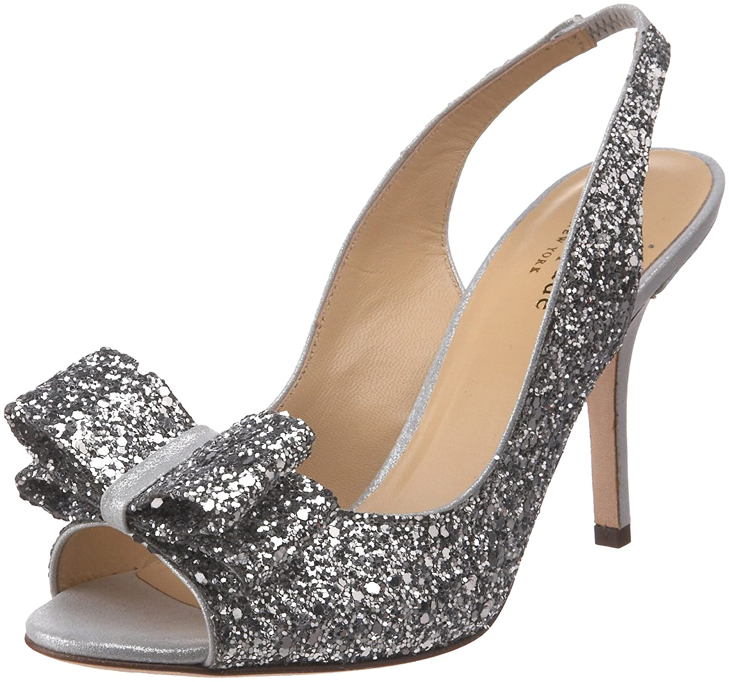 Women's Charming Silver Heel Glitter Bow Slingback Pump by Kate Spade New York - DeluxeAdultCostumes.com