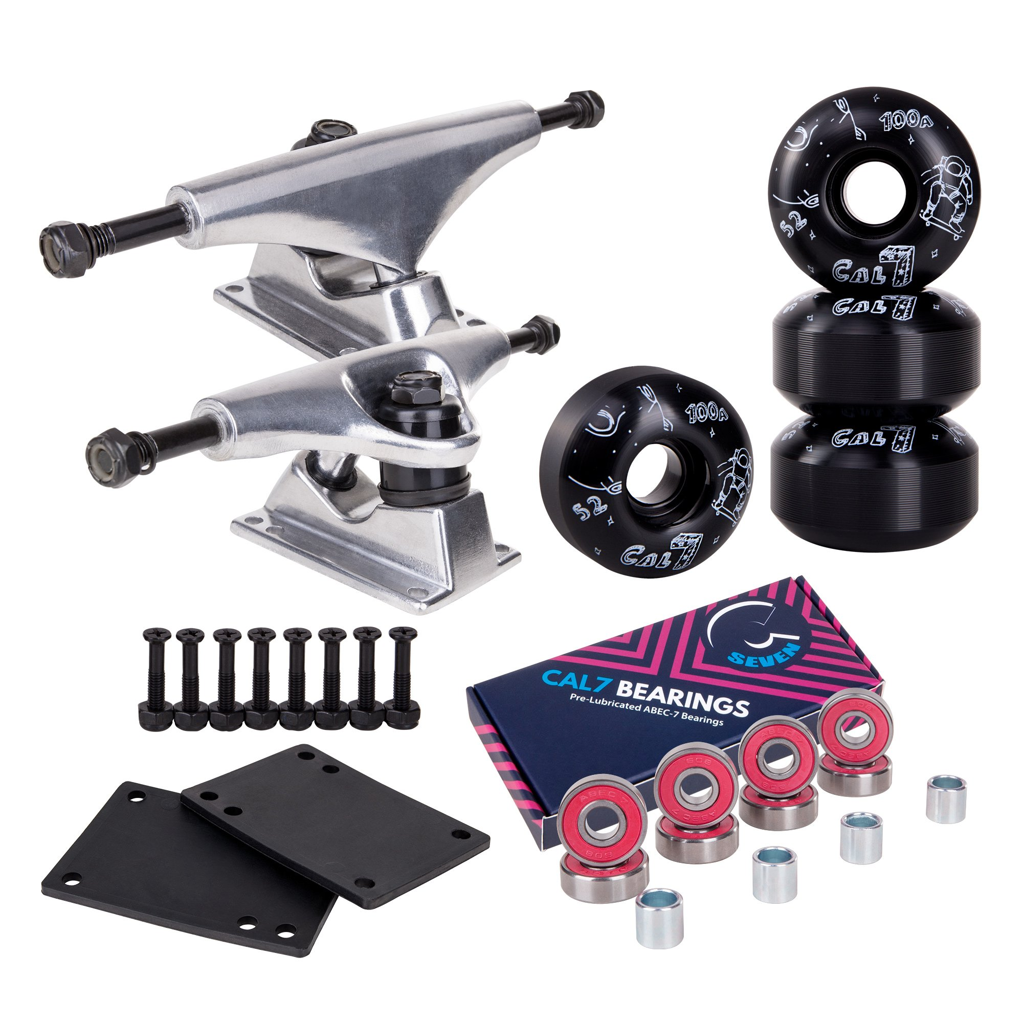 Cal 7 Skateboard Package Combo with 5 Inch / 129 Millimeter Trucks, 52mm 99A Wheels, Complete Set of Bearings and Steel Hardware (Silver Truck + Black Interstellar Wheels) by Cal 7