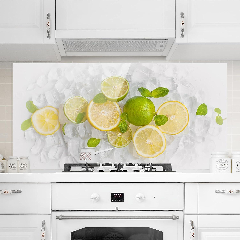 Citrus Fruits On Ice : 40cm x 80cm Orizzontale 1:2,Paraschizzi Cucina Pannello paraschizzi Cucina paraspruzzi per Piano Cottura Pannello per Parete Misura Bilderwelten Paraschizzi in Vetro AxL
