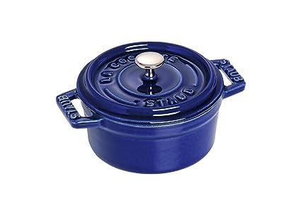 Staub Minis Cocotte Redonda, Hierro Fundido, Azul, 10 cm