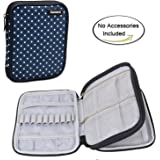 Damero Crochet Hook Case, Travel Storage Bag for Various Crochet Needles and Accessories, Lightweight and Compact, Easy to Carry, Blue Dots(No Accessories Included)--New Version