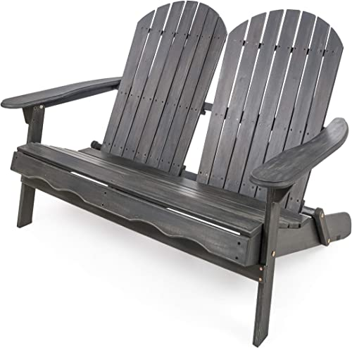 Great Deal Furniture Muriel Outdoor Dark Grey Finish Acacia Wood Adirondack Loveseat