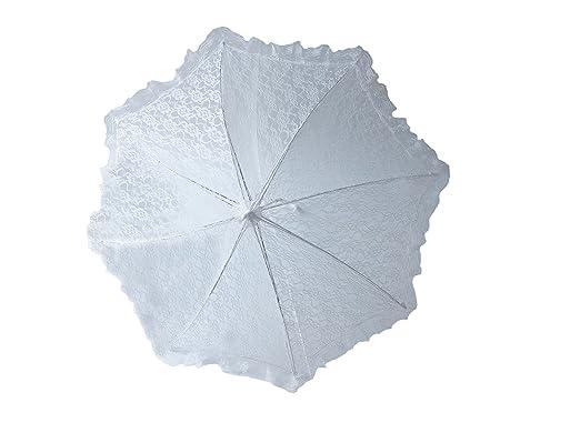 Plain Bridal Shower Wedding White Lace Umbrella Parasol 32quot