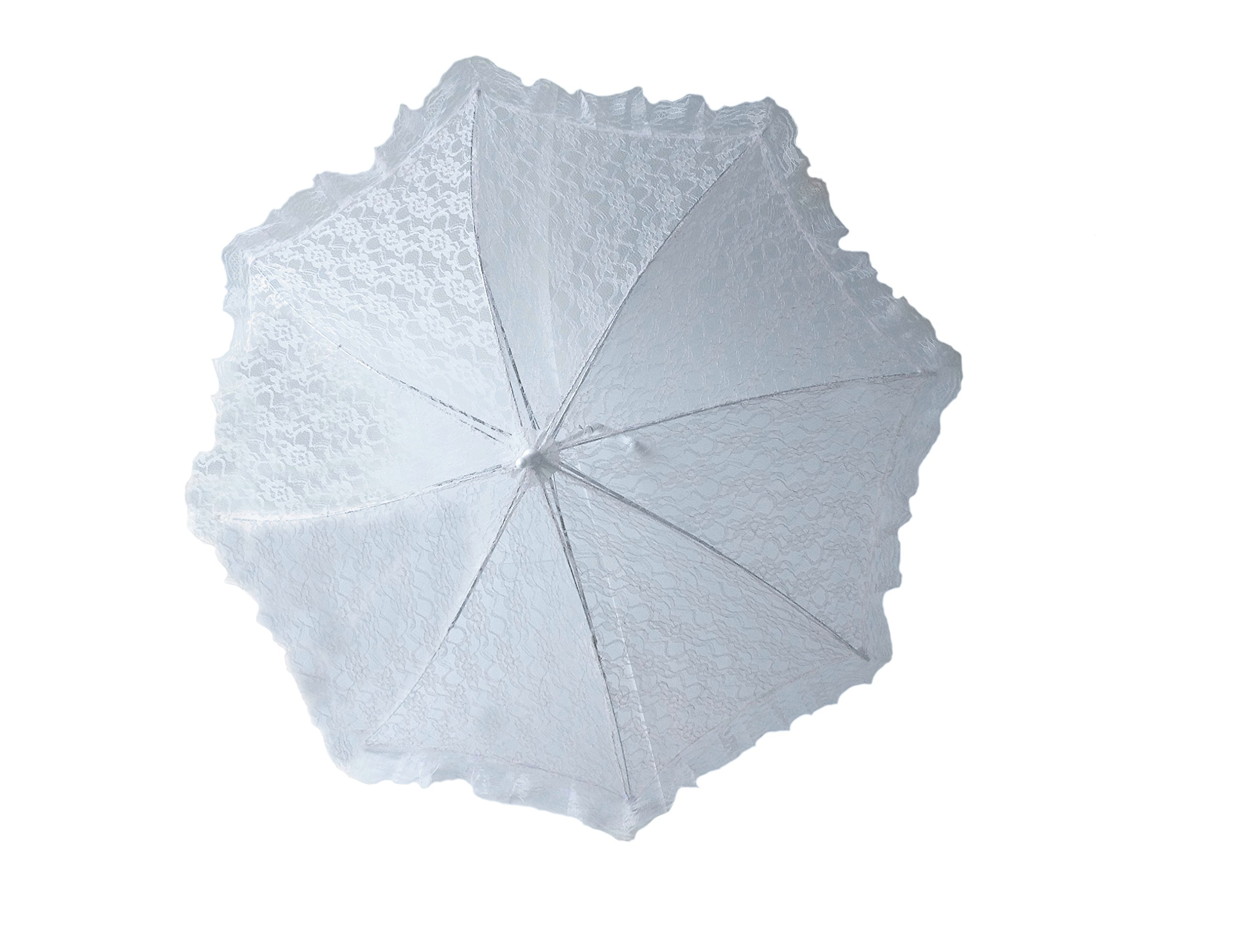 Plain Bridal Shower Wedding White Lace Umbrella Parasol 32''