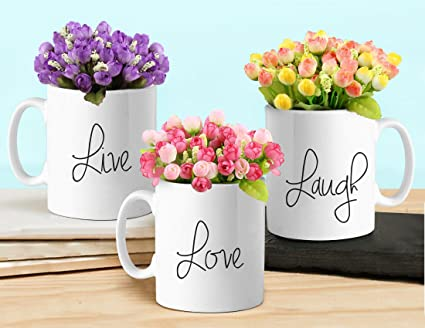 Tied Ribbons Ceramic Flower Vases with Artificial Flowers, White Vases at amazon