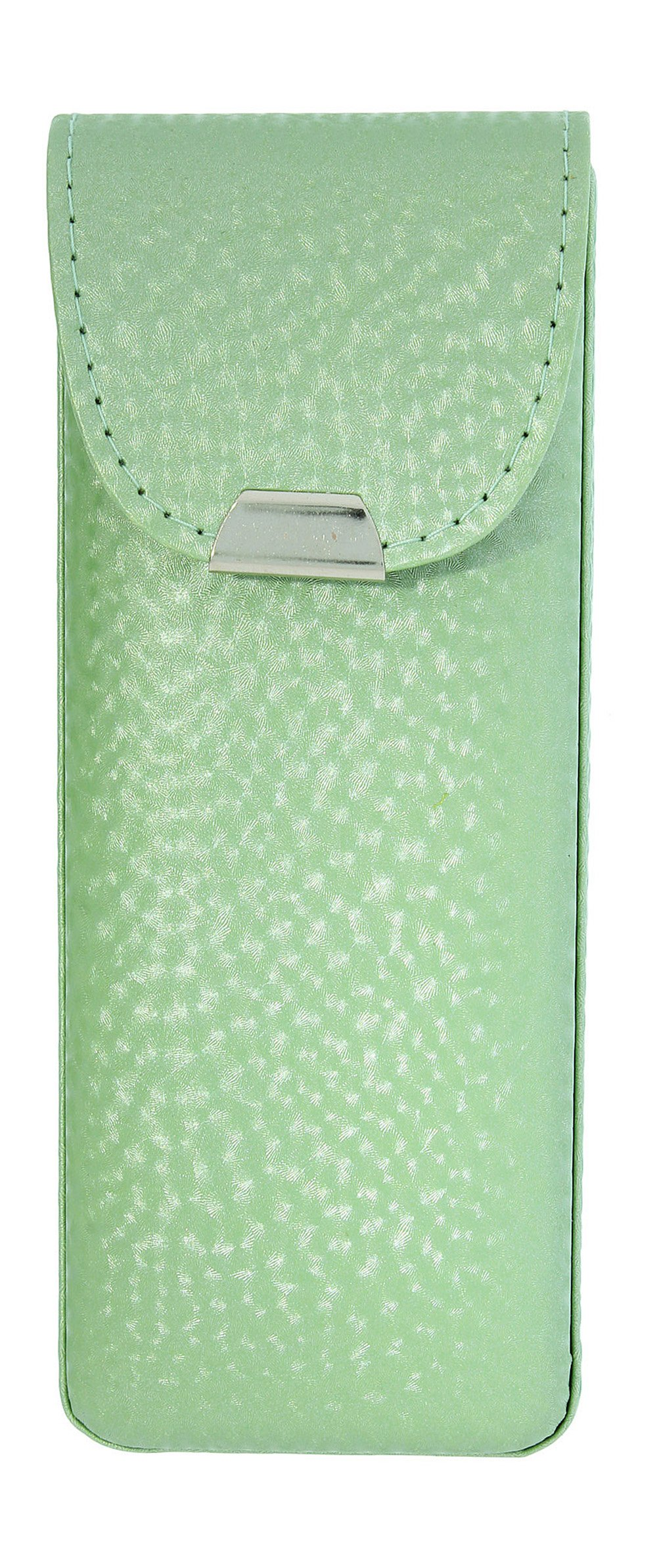 Eyeglass Case Top Snap Closure Metal Embellishment Pearly Shade Of Green