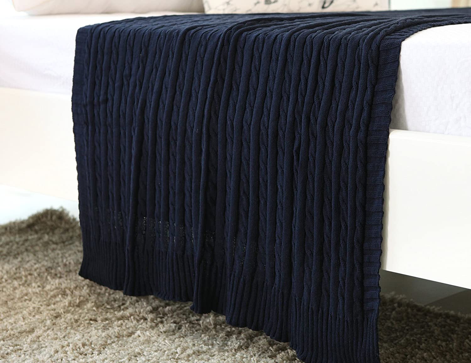100% All Cotton Knit Throw for Sofa Classic Cable Pattern, 43x70 Inches, Lightweight Ideal for All Year Round Use, Navy