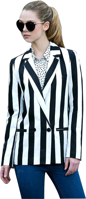 Amazon Com Moxeay Women Black And White Striped Beetlejuice Costume Long Sleeve Blazer Jackets Clothing