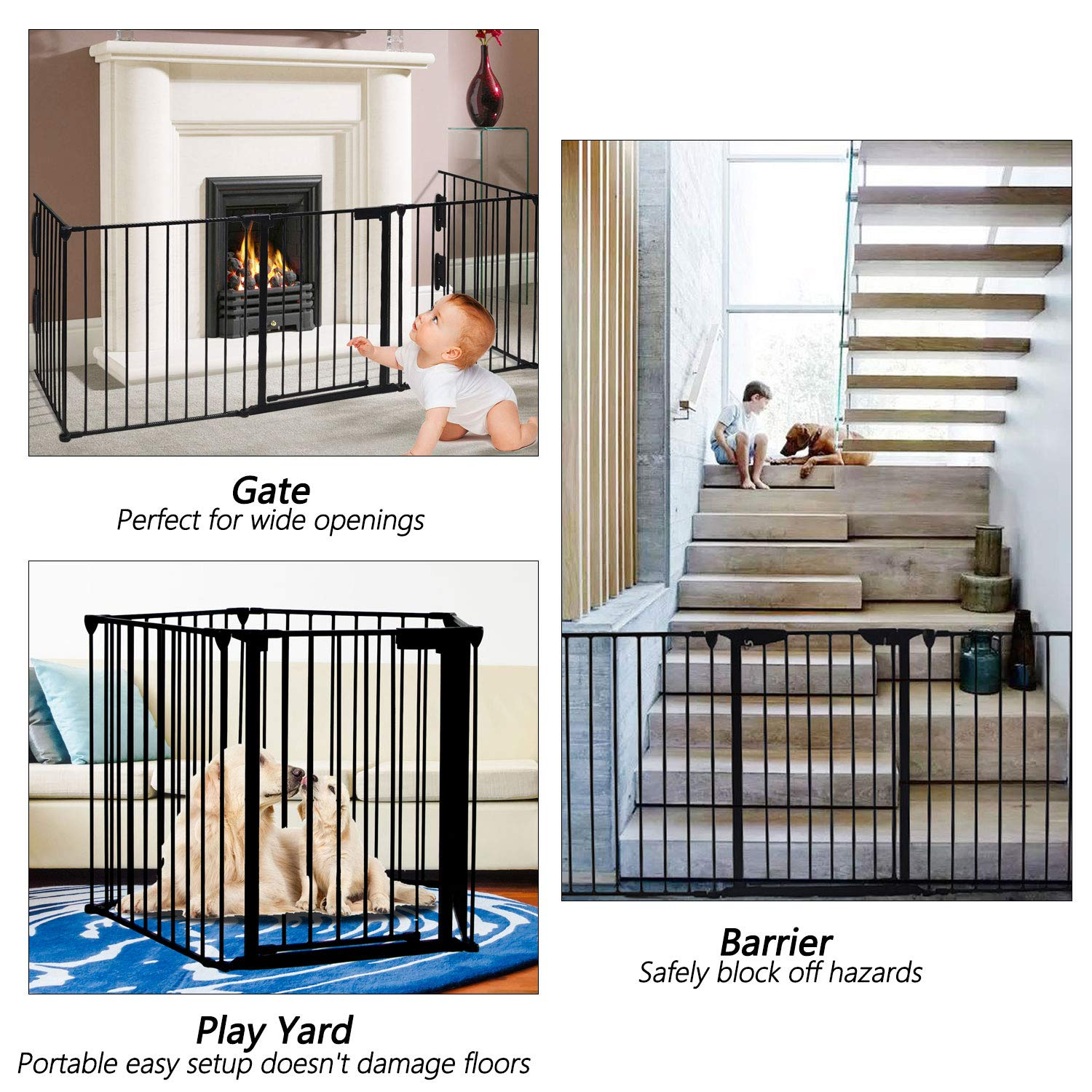 125 Long Play Yard with Door for Indoor//Pet//Dog//Christmas Tree Enclosure,30 Tall Black Fireplace Fence,Baby Safety Gate Fireplace Freestanding 3-in-1 Wide Adjustable 5-Panel Folding Metal Barrier
